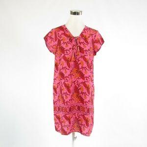 Calypso pink linen cap sleeve dress S